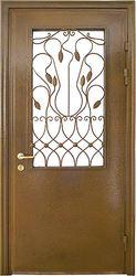 Металические двери со стеклопакетом и ковкой